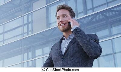 -, biznesmen, telefon, smartphone, ruchomy, komórka, ...