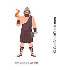 -, blacksmiths, deidad, dios, mitológico, pantheon., romano...