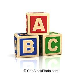 -, blokje, alfabet, alfabet, concept