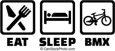 -, bmx, sömn, äta, ikonen