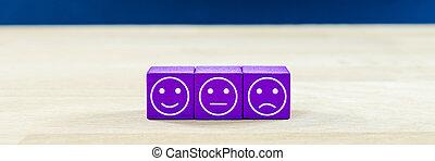 -, bois, satisfaction, trois, ils., dés, différent, service clientèle, concept, expressions