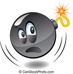 -, bomba, cartone animato, bombe, serie