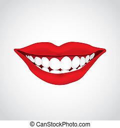 -, bonito, woman?s, boca, sorrindo, ilustração