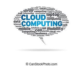 -, borbulho fala, nuvem, computando