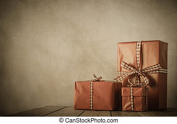 -, bord, jul, årgång, gåvor
