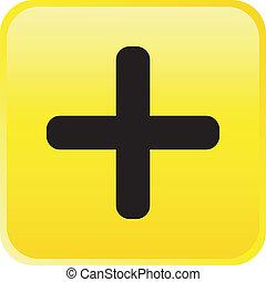 -, botão, vetorial, positivo, lustroso