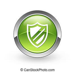 -, botón, protección, esfera verde