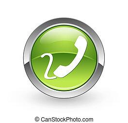 -, botón, verde, teléfono, esfera