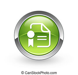-, bottone, verde, certificato, sfera