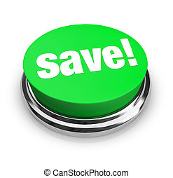 -, bouton, sauver, vert