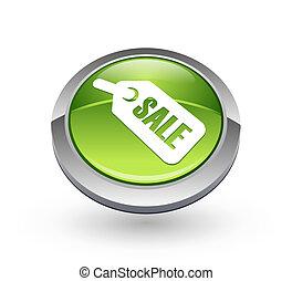 -, bouton, vert, vente, sphère