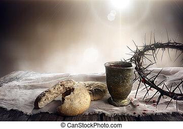 -, bread, 聖杯, ワイン, 聖餐, 情熱, とげ, パン種を入れていない, 王冠