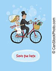 -, brud, brudgum, räddning, datera, cykel