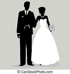 -, bruidegom, silhouette, illust, bruid