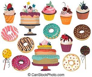 -, bruits secs, délicieux, isolé, arrière-plan., collection, dessert, beignets, vecteur, petits gâteaux, gâteau, gâteau, blanc