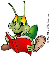 -, buch, grün, lesende , wanze, glücklich