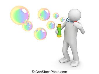 -, bulles, style de vie, savon, collection
