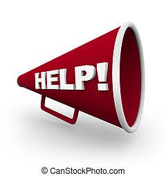 -, bullhorn, segítség, piros