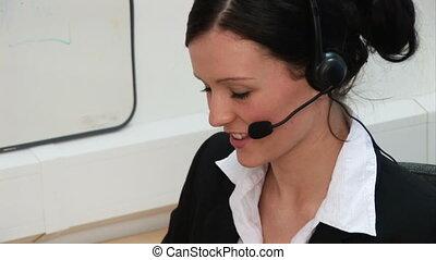 -, bureau fonctionnant, femme, 3