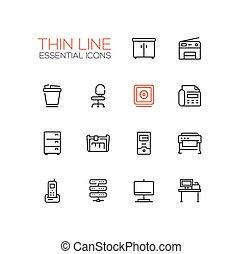 -, bureau, ligne mince, icônes, fournitures, ensemble, unique