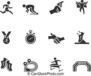 -, bw, corrida, competição, ícones
