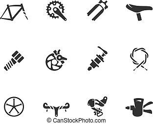 -, bw, fiets, iconen, onderdelen