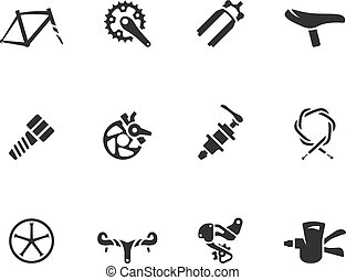 -, bw, fiets, onderdelen, iconen