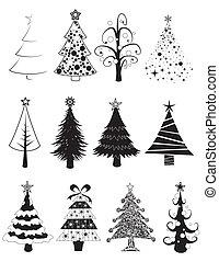 -b&w, satz, weihnachtsbäume