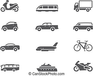-, bw, szállítás, ikonok