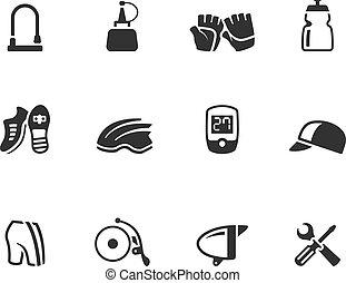 -, bw, vélo, accessoires, icônes