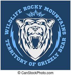 -, cabeça, pardo, emblem., urso