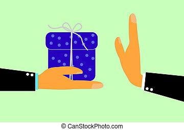-, cadeau, autre, main, refuser