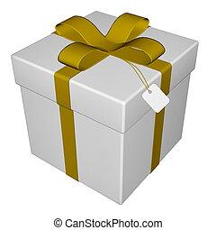 -, cadeau, render, 3d