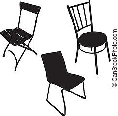 -, cadeira, vetorial, silueta