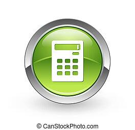 -, calculadora, verde, botão, esfera