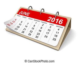 -, calendrier, 2016, juin