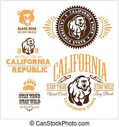 -, california, tesserati magnetici, orsi, set, retro, republic., elegante