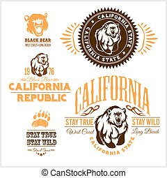 -, californie, insignes, ours, ensemble, retro, republic., élégant