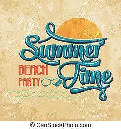 """-, calligraphic, party"""", temps, écriture, plage, """"summer"""