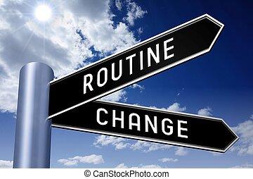 -, cambio, poste indicador, dos, ilustración, flechas, rutina
