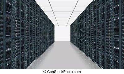 -, camerarecording, réseau, trought, serveur, rang, salle, données, serveurs