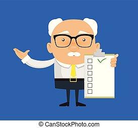 -, capo, esposizione, uomo affari, vecchio, lista
