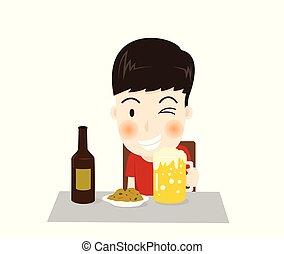 -, carattere, isolato, illustrazione, cartone animato, birra, vettore, fondo, bibite, piatto, pietanza, bianco, uomo, lato, felice