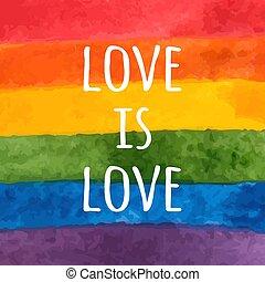 -, card., 愛, rainbow., flag., slogan., 誇り, ベクトル, 水彩画, ペイントされた, lgbt, 手, 日, イラスト, 許容