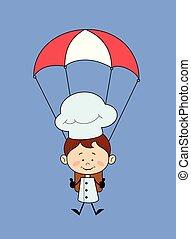 -, caricatura, pára-quedas, cozinheiro, aterragem, sucedido