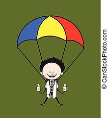 -, caricatura, pára-quedas, doutor, aterragem, sucedido