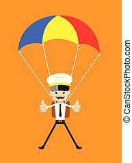 -, caricatura, piloto, vôo, pára-quedas, assistente, aterragem, sucedido
