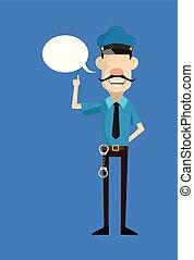 -, caricatura, policial, policial, sorrindo, apontar, borbulho fala