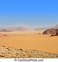 -, carnero, jordania, wadi