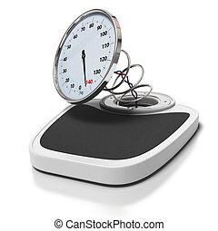 -, carrée, excès poids, images, fond, salle bains, cassé, blanc, sur, concept, balances